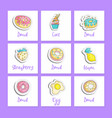 cute cartoon food square cards with english text vector image vector image