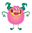 cute cartoon monster character with big horns vector image vector image