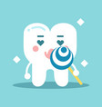cute enamored cartoon tooth character holding vector image vector image