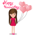 Cute girl Happy Valentines Day holding balloons vector image