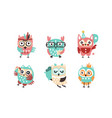 cute owls collection adorable funny colorful vector image vector image
