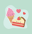 delicious and sweet ice cream and products kawaii vector image vector image