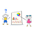 doodle girl pointing to a presentation board vector image vector image