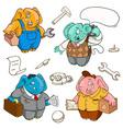 elephants workers vector image vector image
