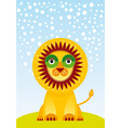 Funny cartoon lion on green grass and sky vector image vector image
