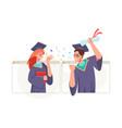 graduates celebrating online graduation ceremony vector image vector image