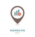 growth graph outline pin map icon finances sign vector image
