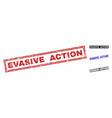 grunge evasive action textured rectangle stamps vector image vector image