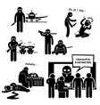 hijacker terrorist airplane stick figure vector image