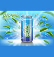 ice tea label ads with green leaves on blue vector image vector image