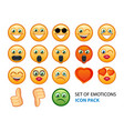 icon pack of emotion smiles on white background vector image vector image