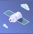 isometric flat satellite icon spacecraft or vector image