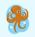 octopus cute sea animal coloring book for vector image