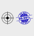 outline bullseye icon and distress 9999 vector image vector image