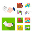 purse with credit cards and other web icon in vector image vector image