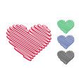 red heart shaped diagonal lines vector image vector image