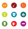 rock display icons set flat style vector image
