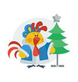 rooster in christmas suit cartoon flat icon vector image