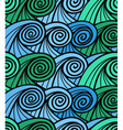 Seamless background of curled abstract blue waves vector image vector image
