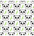 seamless cute panda with bamboo pattern vector image