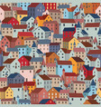 seamless pattern with colorful houses city vector image