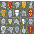 seamless pattern with knightly helmets and shields vector image vector image