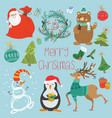 set of animals santa claus vector image vector image