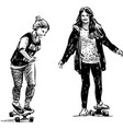 sketches teen girls training on skateboards vector image