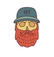 Skull with Hipster mustachecap and beards vector image