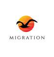 sunset sunrise flying seagull bird silhouette logo vector image
