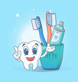 toothbrush care fun concept banner cartoon style vector image