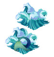 waves of the sea and the mermaid tail isolated on vector image vector image