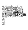 what do lenders gain text word cloud concept vector image vector image