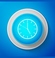 White clock icon isolated on blue background