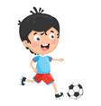 of kid playing football vector image