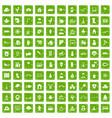 100 kindergarten icons set grunge green vector image vector image