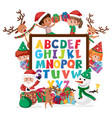 a-z alphabet board with many kids in christmas