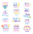 baby shower sign boy or girl newborn kids vector image vector image