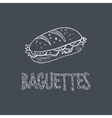 Baguette Sketch Style Chalk On Blackboard Menu vector image vector image