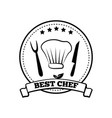 best chef monochrome round emblem with five stars vector image
