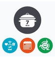 Boil 7 minutes Cooking pan sign icon Stew food vector image vector image
