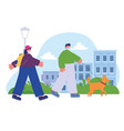 boy with dog and girl with backpack walking in the vector image vector image