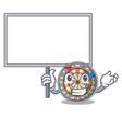 bring board dartboard stuck to the cartoon wall vector image