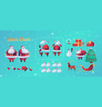 cartoon santa claus animation christmas set vector image vector image