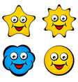 cartoon smiling face star sun cloud smiley vector image vector image