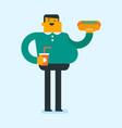 caucasian man holding tray full of fast food vector image vector image