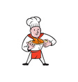 Chef Cook Roast Chicken Dish Cartoon vector image vector image