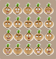 cute cartoon onion smile with many expressions vector image vector image