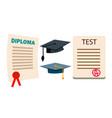 diploma cap graduation cartificate vector image