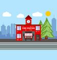 fire station building city landscape concept vector image vector image